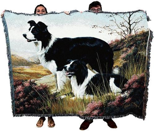 Border Collie Dog Breed Woven Afghan