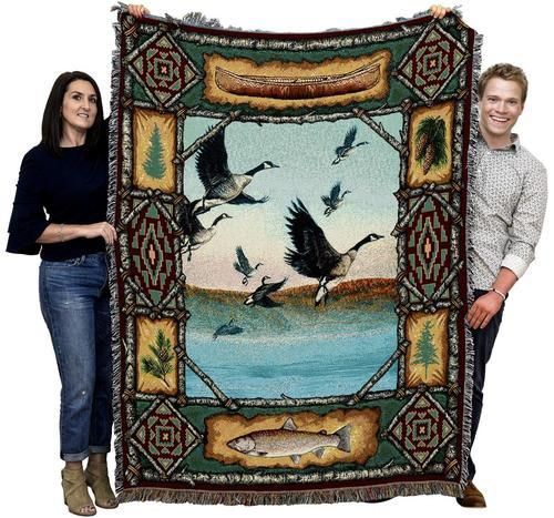 Canadian Geese Woven Cotton Afghan Blanket