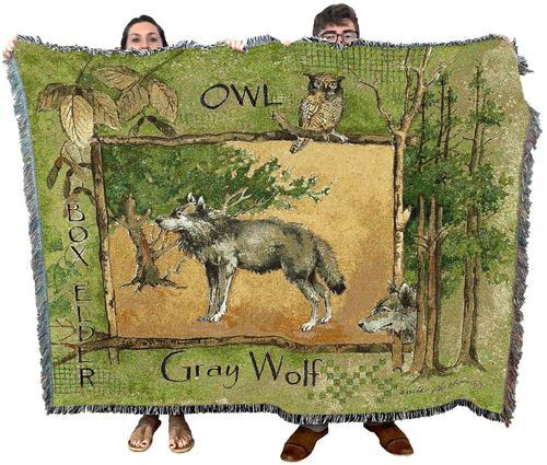 Gray Wolf Lodge Woven Throw Blanket