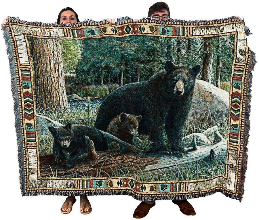 Bear and Cubs Woven Cotton Afghan Blanket