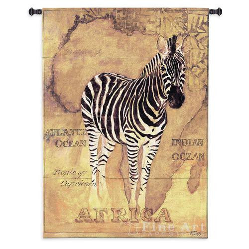 African Voyage II Zebra Wall Textile Tapestry
