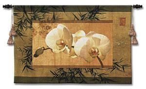 Bamboo and Orchids Flower Woven Room Tapestry