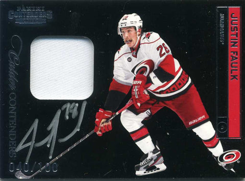 2011-12 Panini Contenders - Patch &  Autograph -  # 205 Justin Faulk # /100