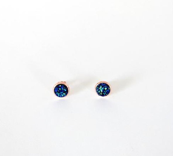 Kalenjin Druzy Earrings--Peacock and Rose Gold