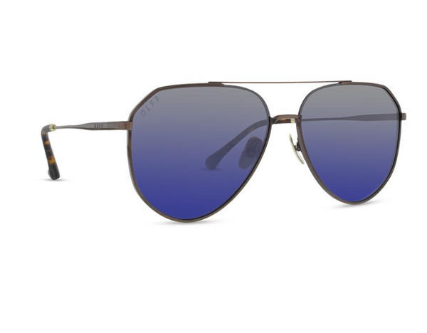 Diff Dash Sunglasses -- Brushed Brown & Grey Blue Polarized Lens