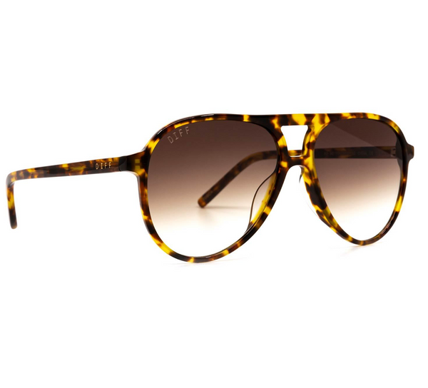 Diff Tosca Sunglasses -- Amber Tortoise & Brown Gradient Non Polarized Lens