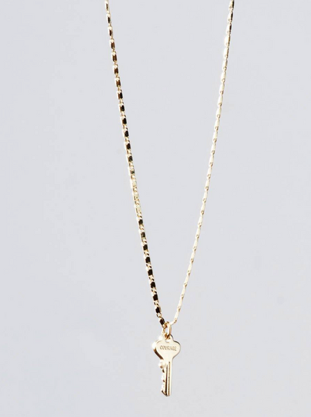 Petite Key Necklace w/ Engraved Key Bar Chain COURAGE--Gold