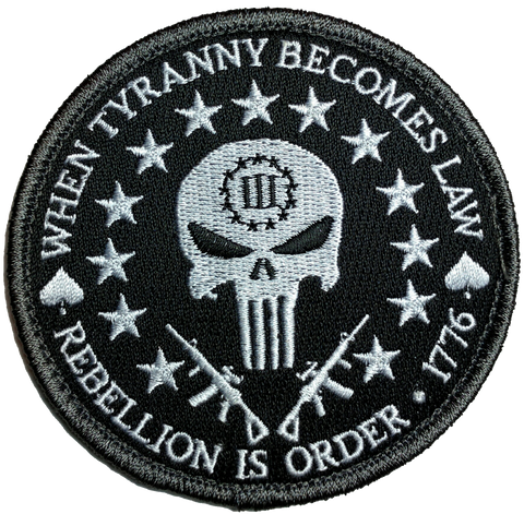Three Percent Tyranny Punisher Liberty Morale Patch (B/W)