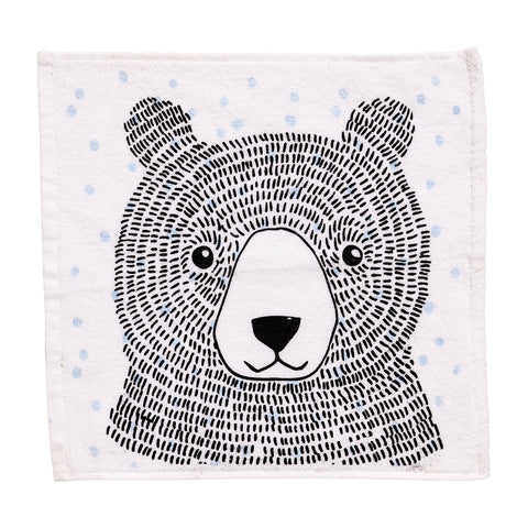 Bloomingville Bear Illustration Washcloth - Blue