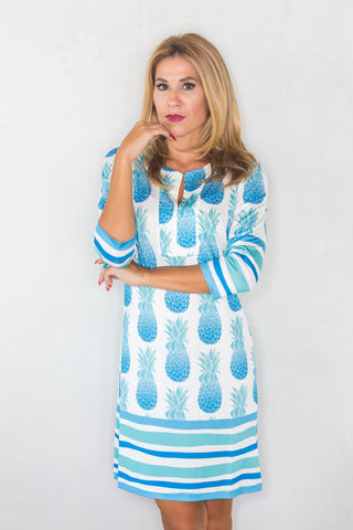 Isabella Dress Blue Pineapples