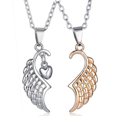 2PCS Angel Wings Heart Shape Pendant Couple Necklace US Fashion Jewelry Gift