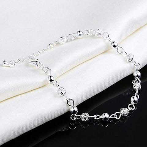 USA New Women Sterling Silver Plated Chain Bangle Cuff Charm Bracelet Jewelry
