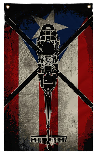 Flags - Awesome Puerto Rico Black Hawk Flag