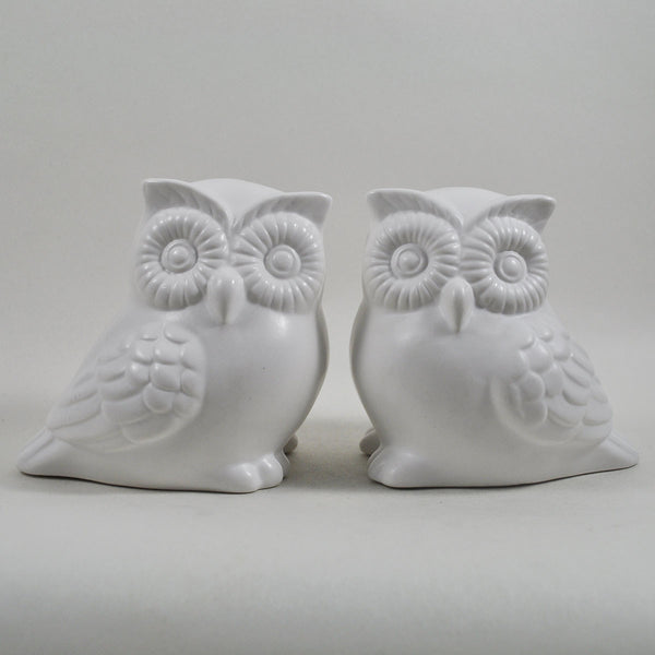 Pair of White Ceramic Owls - Prezents  - 1