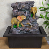 Indoor Water Fountain Stone Look & Elephants With LED Light - Prezents.com