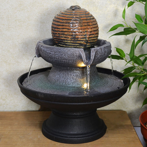 Indoor Water Fountain Stone Ball Round With LED Light - Prezents.com