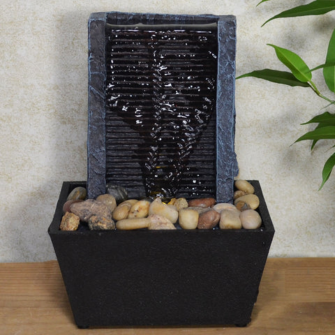 Indoor Water Fountain Wall & Pebbles With LED Light - Prezents.com
