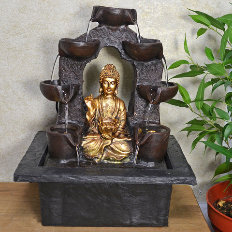 Indoor Water Fountain Golden Buddha Under Arch With LED Light - Prezents.com