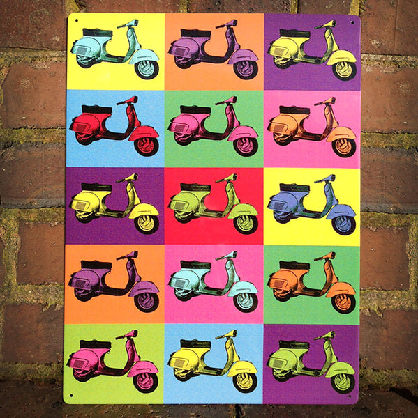 Vespa Pop Art Metal Sign - Prezents.com