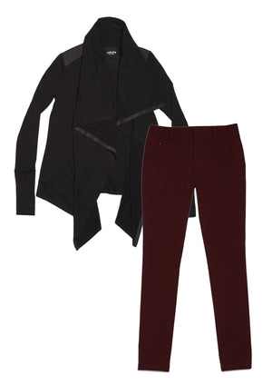24/7 Pants Bordeaux & Good-to-Go Cardi Jet Black Combo Pack