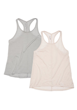 racerback tank top combo pack in mist grey and blush pink