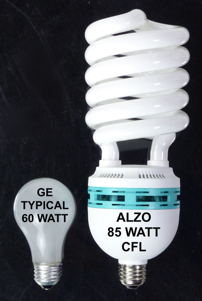 ALZO 85W CFL Photo Light Bulb 5500K size comparison 60W