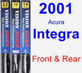 Front & Rear Wiper Blade Pack for 2001 Acura Integra - Vision Saver