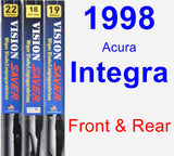 Front & Rear Wiper Blade Pack for 1998 Acura Integra - Vision Saver