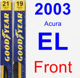 Front Wiper Blade Pack for 2003 Acura EL - Premium