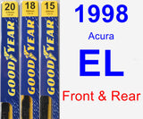 Front & Rear Wiper Blade Pack for 1998 Acura EL - Premium