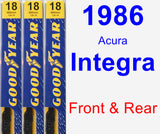 Front & Rear Wiper Blade Pack for 1986 Acura Integra - Premium