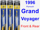 Front & Rear Wiper Blade Pack for 1996 Plymouth Grand Voyager - Assurance