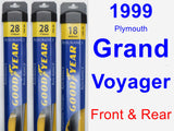 Front & Rear Wiper Blade Pack for 1999 Plymouth Grand Voyager - Assurance