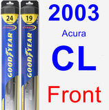 Front Wiper Blade Pack for 2003 Acura CL - Hybrid