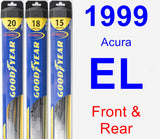 Front & Rear Wiper Blade Pack for 1999 Acura EL - Hybrid