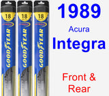 Front & Rear Wiper Blade Pack for 1989 Acura Integra - Hybrid