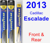 Front & Rear Wiper Blade Pack for 2013 Cadillac Escalade - Hybrid