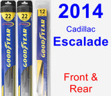 Front & Rear Wiper Blade Pack for 2014 Cadillac Escalade - Hybrid
