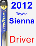 Driver Wiper Blade for 2012 Toyota Sienna - Hybrid