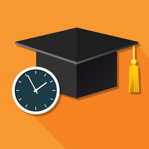 image of graduation hat and clock face on orange background.