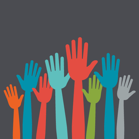 image of multi-colored raised hands.
