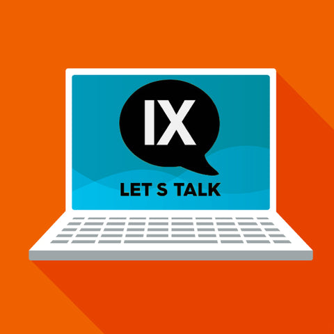 "image of computer with ""Title IX, Let's Talk"" quote"
