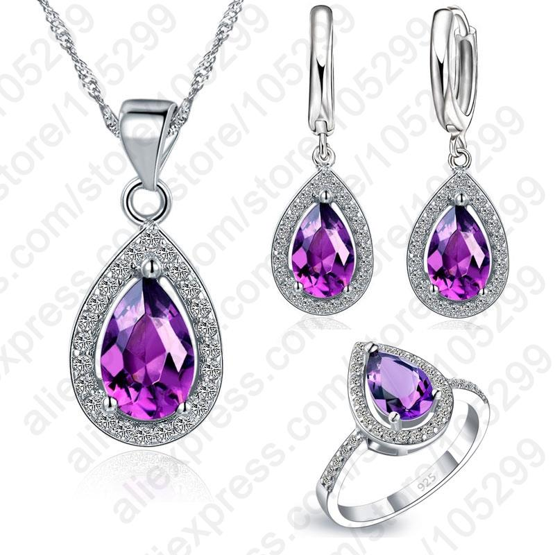 Water Drop Cubic Zirconia CZ Stone 925 Sterling Silver Earrings Necklaces Finger Rings