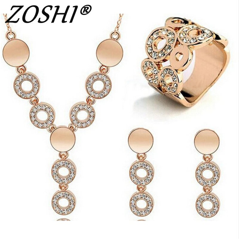 Classy Sparking Crystal Necklace Wedding Gold/Silver Jewelry Set