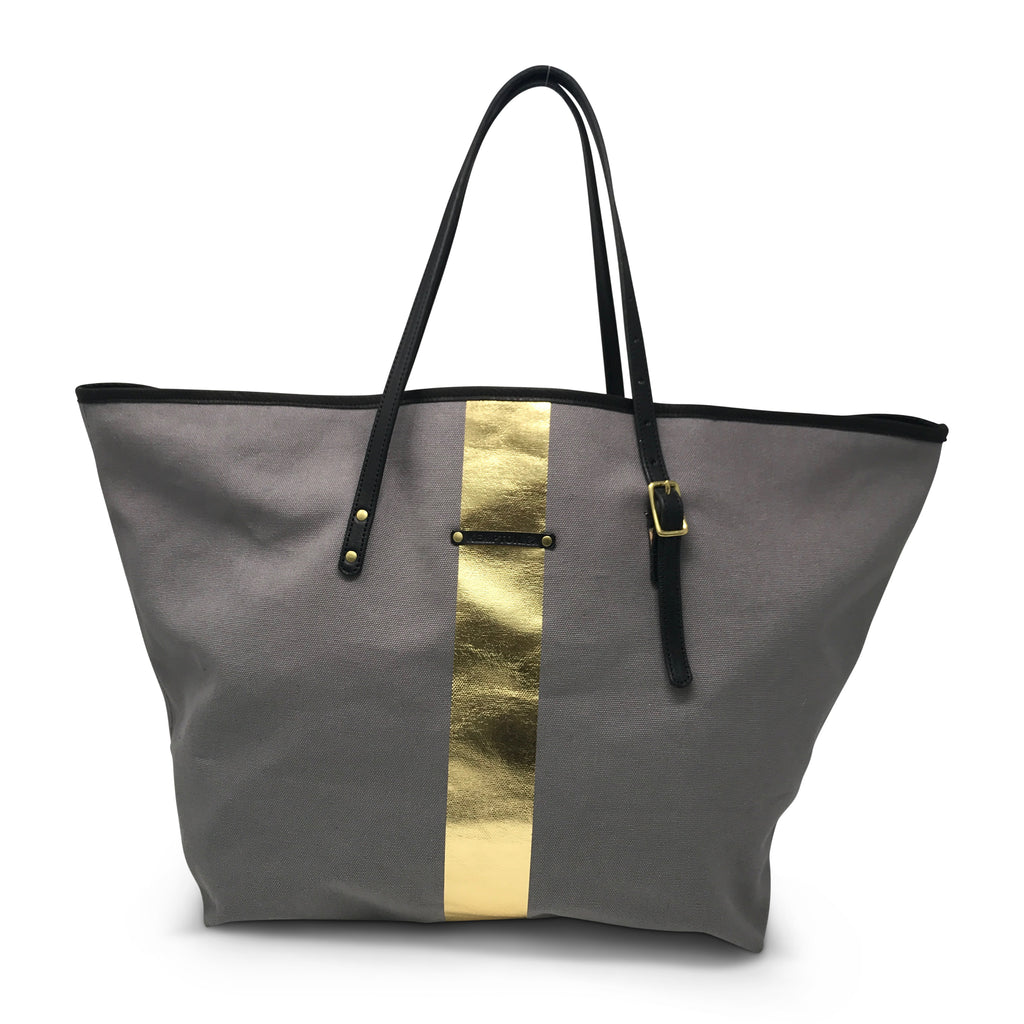 Smoke/Gold Striped Canvas Urban Beach Tote