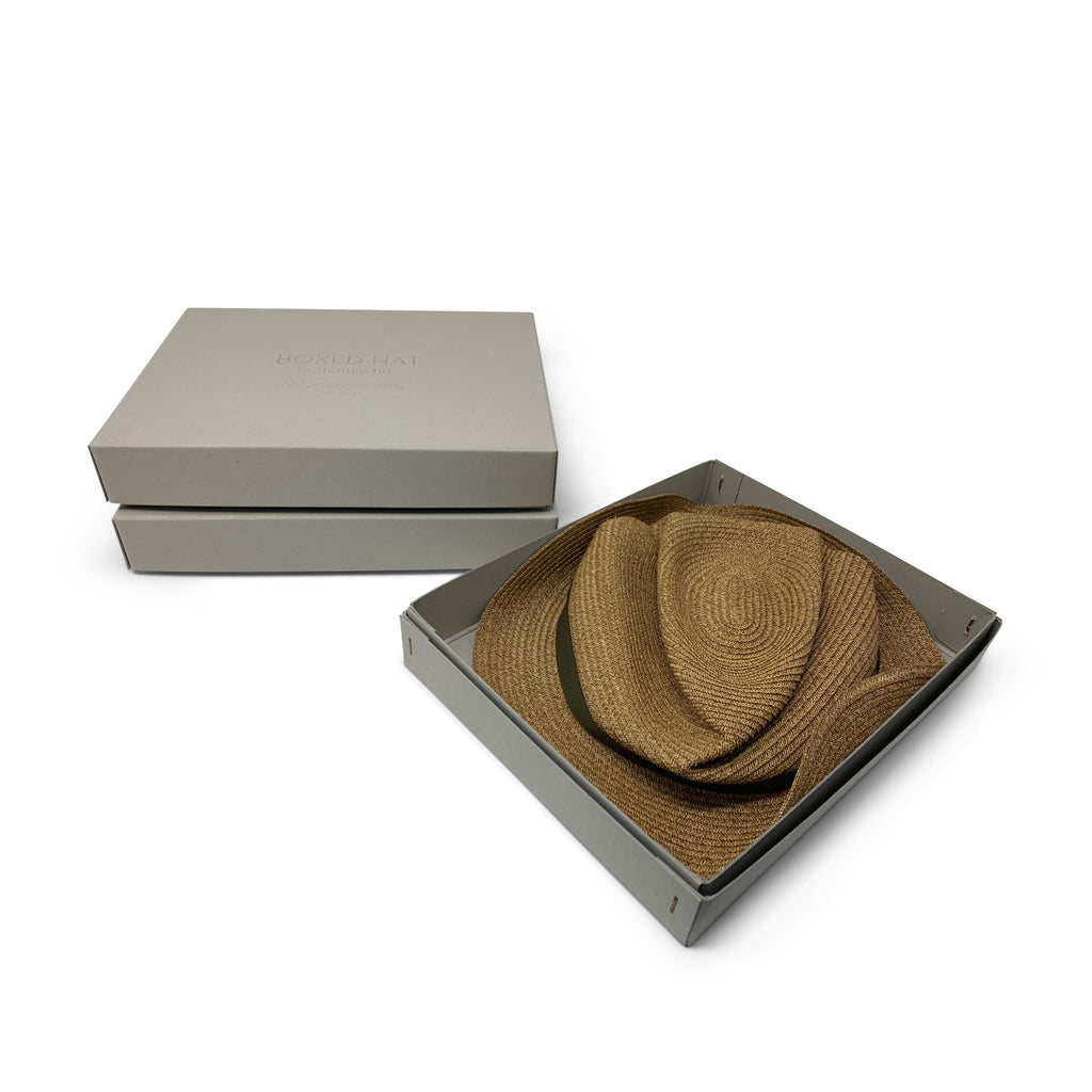 Mature Ha - Boxed Hat - Mix Brown with Khaki Grosgrain
