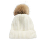 Fur Bobble Beanie Wool Hat - Cream