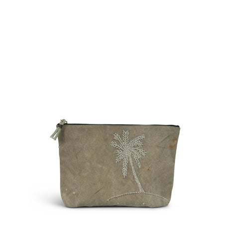 Palm Tree Embroidered Canvas Clutch
