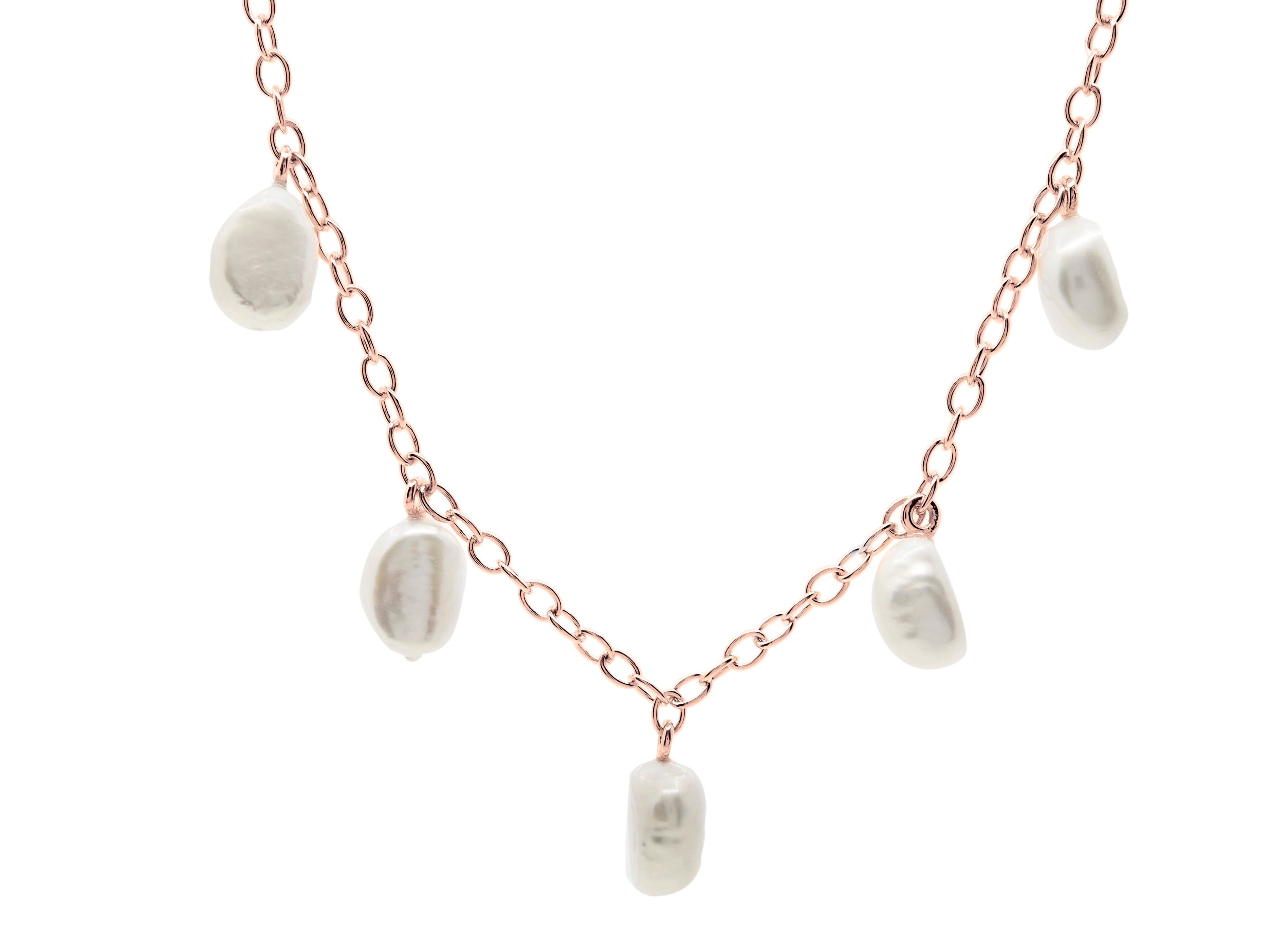 Cable beach baroque pearl necklace, sterling silver, rose gold plated