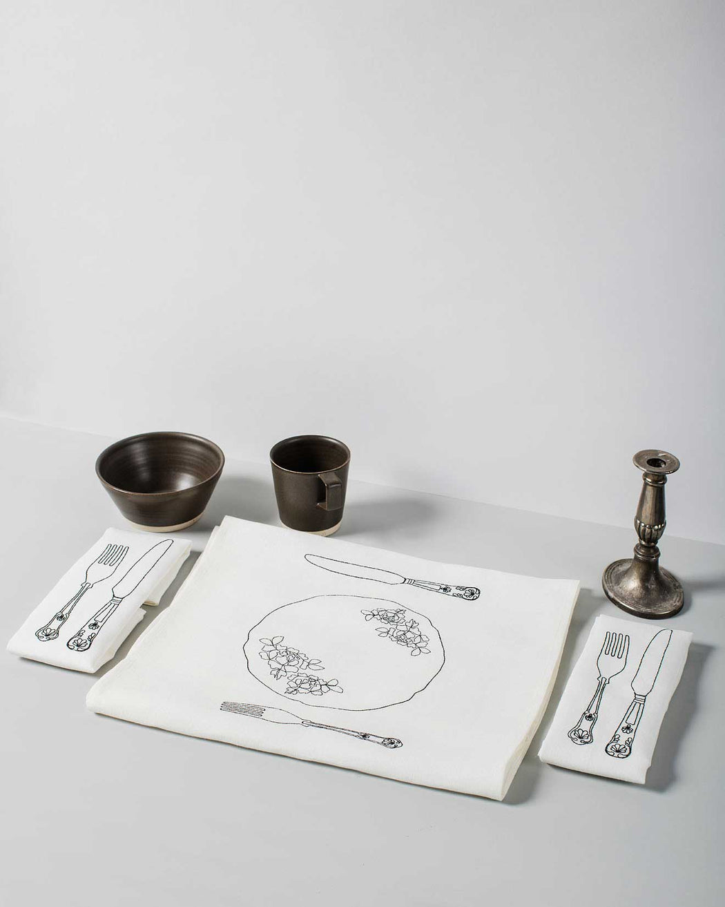 Personalised 'Silver Service' Irish Linen Table Runner & 8 x Napkin Gift Set